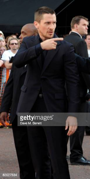 Christian Bale arrives at the European film premiere of 'The Dark Knight' at the Odeon Leicester Square on July 21 2008 in London England