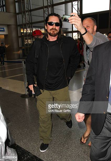 Christian Bale is seen at LAX on February 06 2015 in Los Angeles California