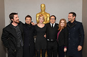Christian Bale Jeremy Renner Jennifer Lawrence David O Russell Amy Adams and Bradley Cooper attend the Academy of Motion Picture Arts and Sciences...