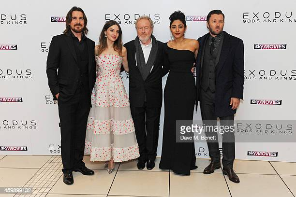 Christian Bale Maria Valverde Sir Ridley Scott Golshifteh Farahani and Joel Edgerton attend the World Premiere of 'Exodus Gods and Kings' at Odeon...