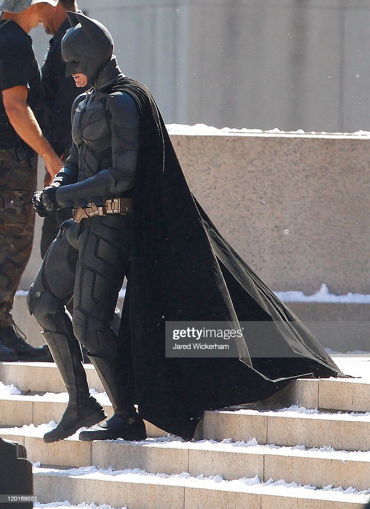 <a gi-track='captionPersonalityLinkClicked' href=/galleries/search?phrase=Christian+Bale&family=editorial&specificpeople=239518 ng-click='$event.stopPropagation()'>Christian Bale</a> stands around in between scenes during the filming of the new Batman: Dark Knight Rises movie at the Mellon Institute building in the Oakland neighborhood of Pittsburgh, PA on July 31, 2011.