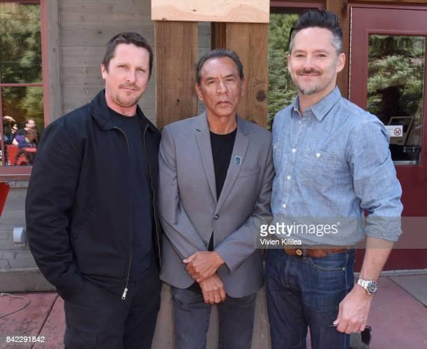 Christian Bale Wes Studi and Scott Cooper attend the Telluride Film Festival 2017 on September 3 2017 in Telluride Colorado