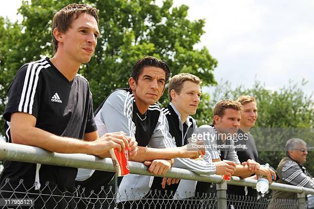 Christian Bandurski Deniz Aytekin Benjamin Cortus Felix Brych and Martin Thomsen are seen during a footballtennis match during the German Football...