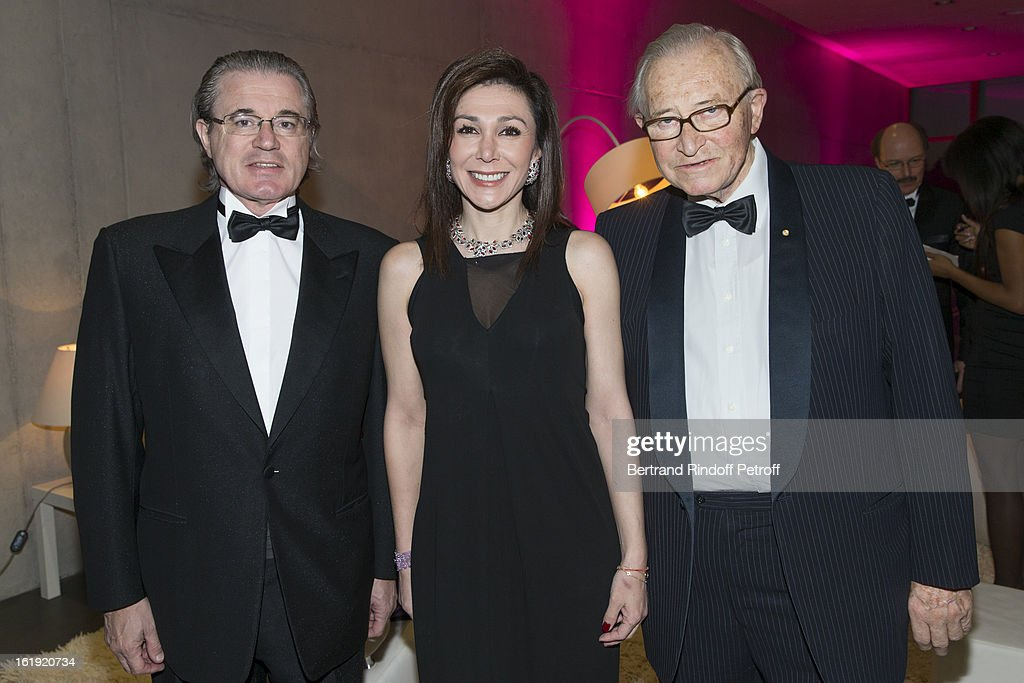 Christian Barras, committee member of the foundation 'Nuit des Neiges', his wife Linda Barras, President of the event, and his father Gaston Barras, committee member of the foundation, attend the 30th edition of 'La Nuit Des Neiges' Charity Gala on February 16, 2013 in Crans-Montana, Switzerland.