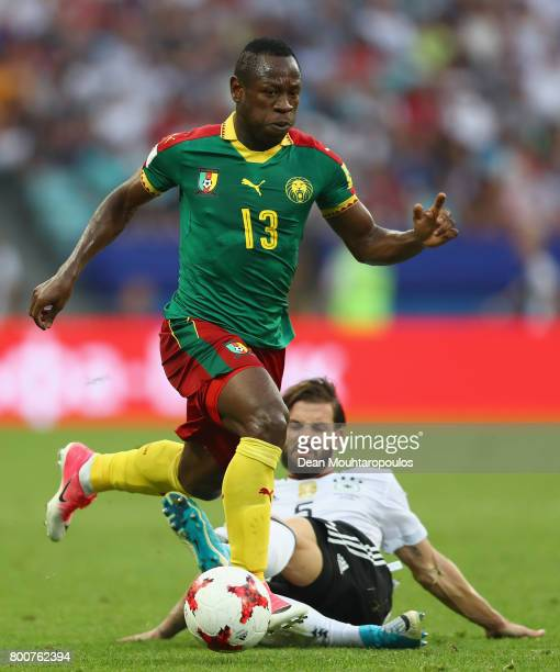 Christian Bassogog of Cameroon escapes a challenge from Marvin Plattenhardt of Germany during the FIFA Confederations Cup Russia 2017 Group B match...