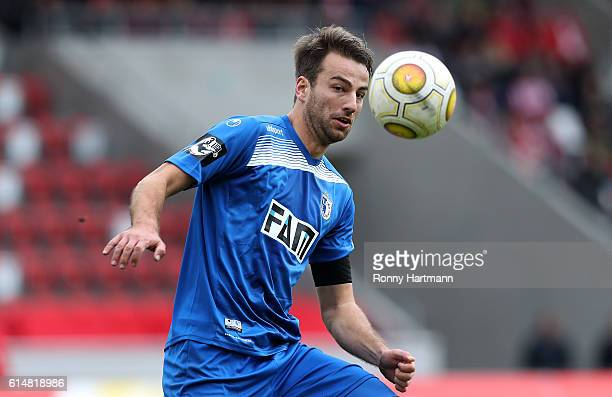 Christian Beck of Magdeburg controls the ball during the Third League match between FC Rot Weiss Erfurt and 1 FC Magdeburg at Steigerwald stadium on...
