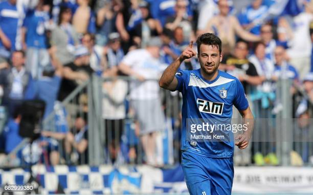 Christian Beck of Magdeburg jubilates after scoring his teams second goal during the third league match between 1FC Magdeburg and Rot Weiss Erfurt at...