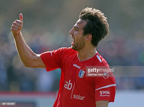 Christian Beck of Magdeburg jubilates after scoring the first goal during the Regionalliga Nordost match between TSG Neustrelitz and 1FC Magdeburg at...