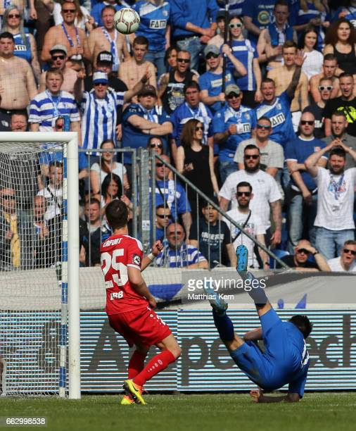 Christian Beck of Magdeburg scores his teams second goal during the third league match between 1FC Magdeburg and Rot Weiss Erfurt at MDCC Arena on...