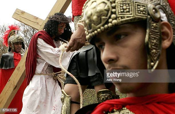 Christian believers participate in a Way of the Cross procession or Via Crucis as they celebrate Good Friday on April 14 2006 in Silver Spring...