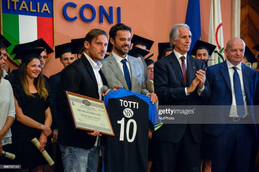Christian Benetton, Francesco Totti, Giovanni Malagò during celebration for Honoris causa diploma for Totti in the salon of honor of CONI , Rome on may 26, 2017