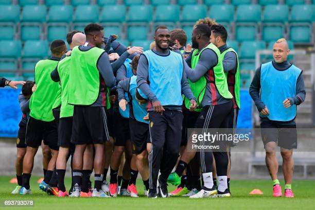Christian Benteke forward of Belgium and Radja Nainggolan midfielder of Belgium laughing during a training session of the National Soccer Team of...