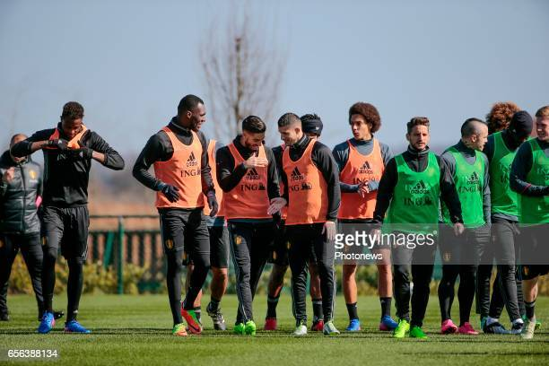 Christian Benteke forward of Belgium Kevin Mirallas forward of Belgium and Yannick Carrasco forward of Belgium during a training session prior to the...