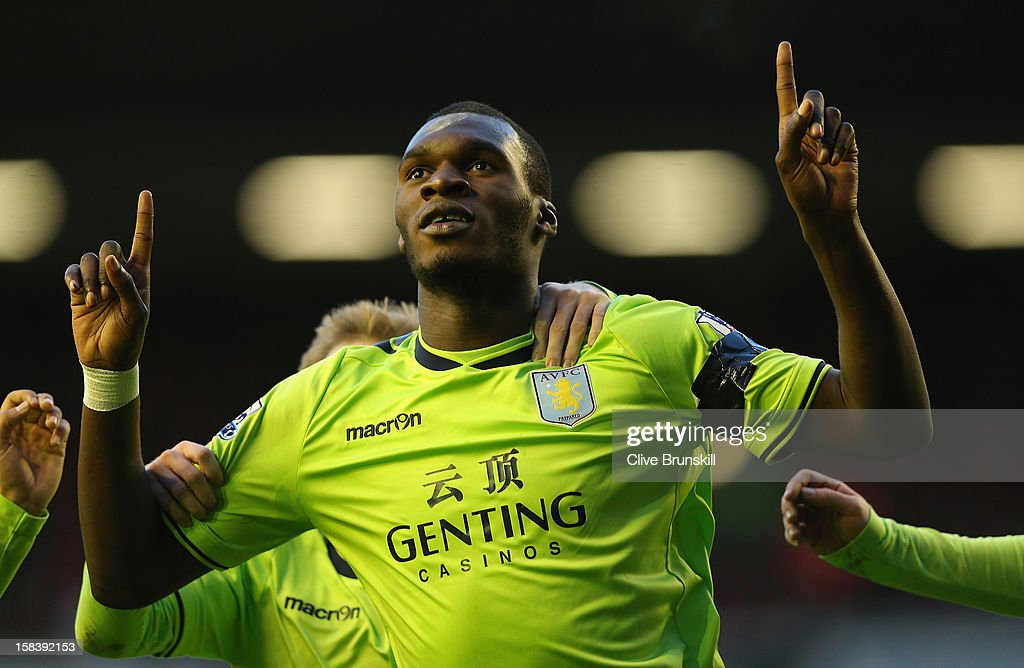 Christian Benteke of Aston Villa celebrates after scoring the first goal during the Barclays Premier League match between Liverpool and Aston Villa at Anfield on December 15, 2012 in Liverpool, England.