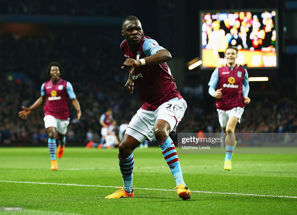 <a gi-track='captionPersonalityLinkClicked' href=/galleries/search?phrase=Christian+Benteke&family=editorial&specificpeople=4282509 ng-click='$event.stopPropagation()'>Christian Benteke</a> of Aston Villa (C) celebrates as he scores their second goal during the Barclays Premier League match between Aston Villa and Queens Park Rangers at Villa Park on April 7, 2015 in Birmingham, England.