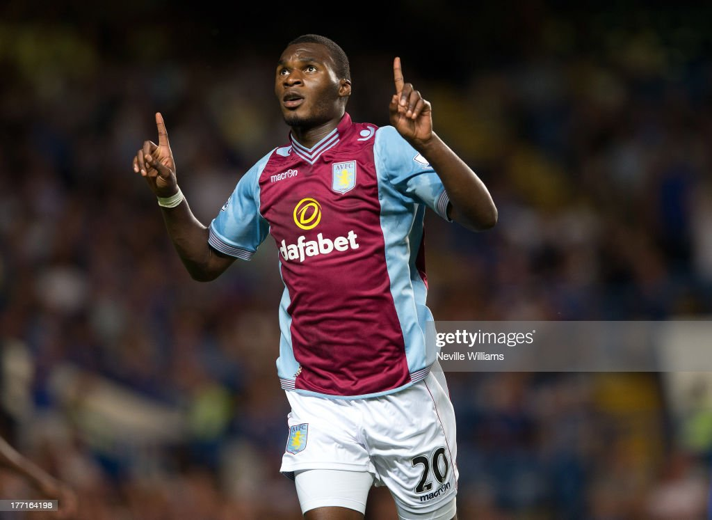<a gi-track='captionPersonalityLinkClicked' href=/galleries/search?phrase=Christian+Benteke&family=editorial&specificpeople=4282509 ng-click='$event.stopPropagation()'>Christian Benteke</a> of Aston Villa celebrates his goal for Aston Villa during the Barclays Premier League match between Chelsea and Aston Villa at Stamford Bridge on August 21, 2013 in London, England.