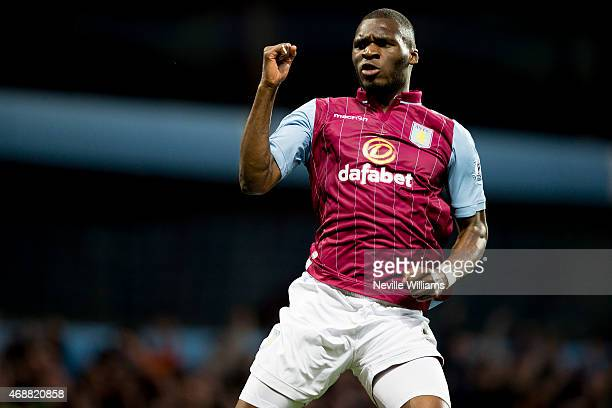 Christian Benteke of Aston Villa celebrates his goal for Aston Villa during the Barclays Premier League match between Aston Villa and Queens Park...