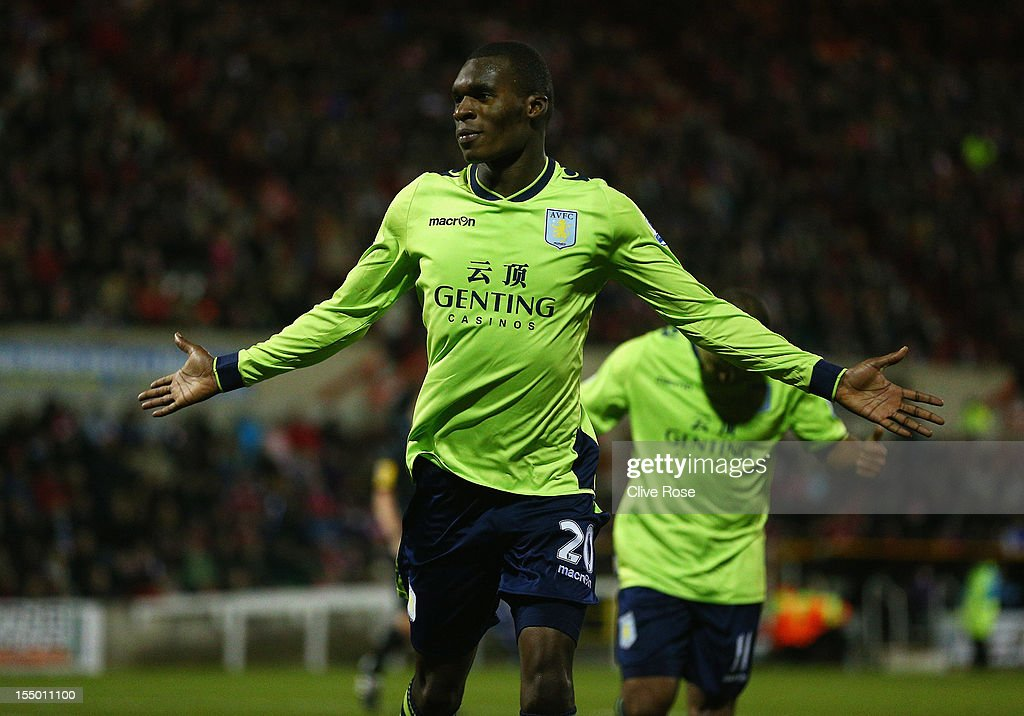 Christian Benteke of Aston Villa celebrates his winning goal during the Capital One Cup Fourth Round match between Swindon Town and Aston Villa at the County Ground on October 30, 2012 in Swindon, England.