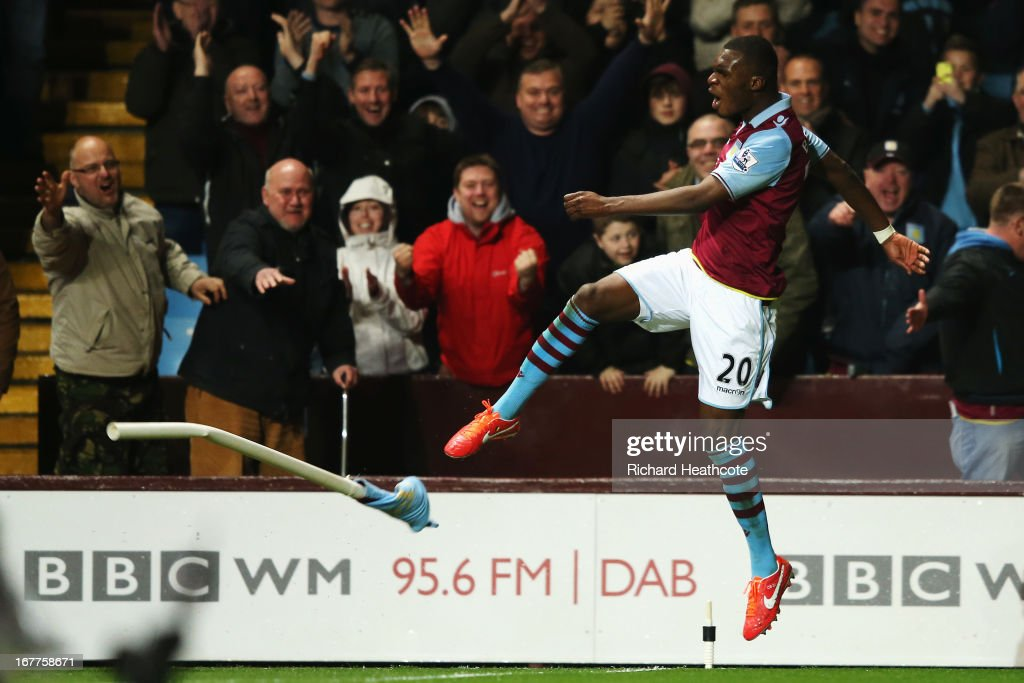 <a gi-track='captionPersonalityLinkClicked' href=/galleries/search?phrase=Christian+Benteke&family=editorial&specificpeople=4282509 ng-click='$event.stopPropagation()'>Christian Benteke</a> of Aston Villa celebrates scoring during the Barclays Premier League match between Aston Villa and Sunderland at Villa Park on April 29, 2013 in Birmingham, England.