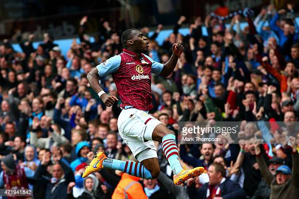 Christian Benteke of Aston Villa celebrates scoring his team's second goal during the Barclays Premier League match between Aston Villa and Everton...
