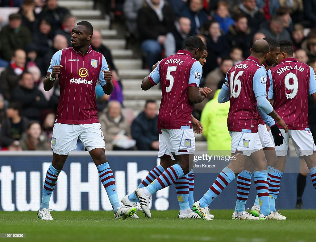 Christian Benteke of Aston Villa celebrates scoring the opening goal during the Barclays Premier League match between Sunderland and Aston Villa at Stadium of Light on March 14, 2015 in Sunderland, England.