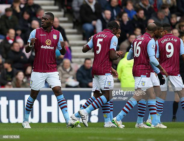 Christian Benteke of Aston Villa celebrates scoring the opening goal during the Barclays Premier League match between Sunderland and Aston Villa at...