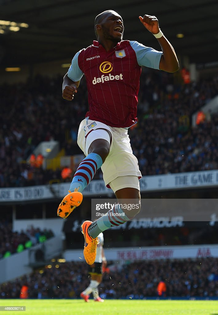 <a gi-track='captionPersonalityLinkClicked' href=/galleries/search?phrase=Christian+Benteke&family=editorial&specificpeople=4282509 ng-click='$event.stopPropagation()'>Christian Benteke</a> of Aston Villa celebrates scoring their first goal during the Barclays Premier League match between Tottenham Hotspur and Aston Villa at White Hart Lane on April 11, 2015 in London, England.