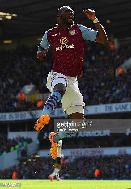 Christian Benteke of Aston Villa celebrates scoring their first goal during the Barclays Premier League match between Tottenham Hotspur and Aston...