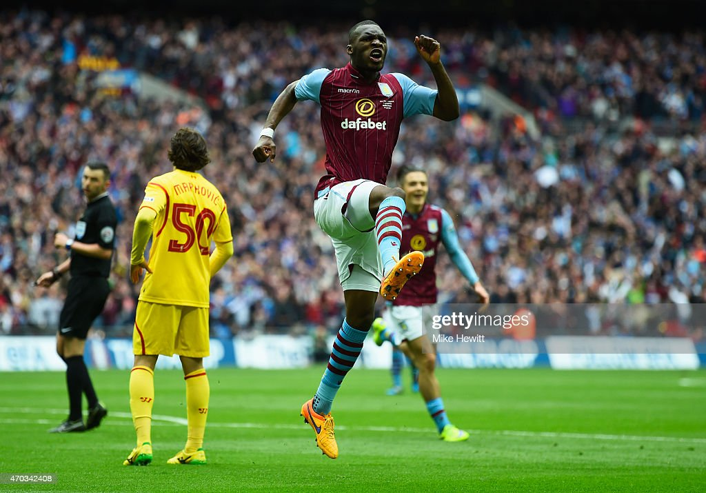 <a gi-track='captionPersonalityLinkClicked' href=/galleries/search?phrase=Christian+Benteke&family=editorial&specificpeople=4282509 ng-click='$event.stopPropagation()'>Christian Benteke</a> of Aston Villa celebrates scoring their first goal during the FA Cup Semi Final between Aston Villa and Liverpool at Wembley Stadium on April 19, 2015 in London, England.