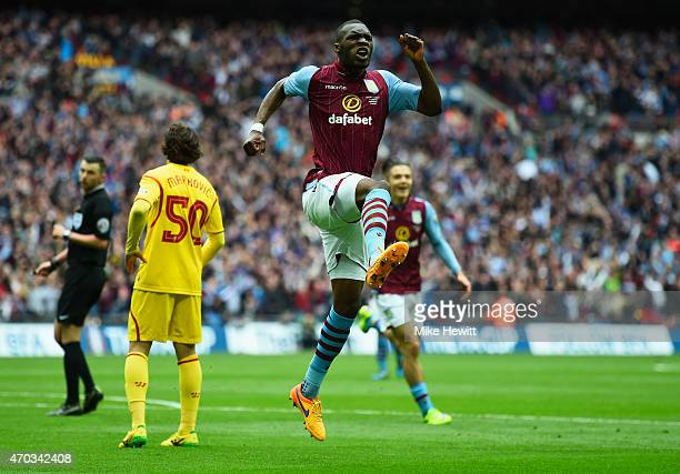 Christian Benteke of Aston Villa celebrates scoring their first goal during the FA Cup Semi Final between Aston Villa and Liverpool at Wembley...