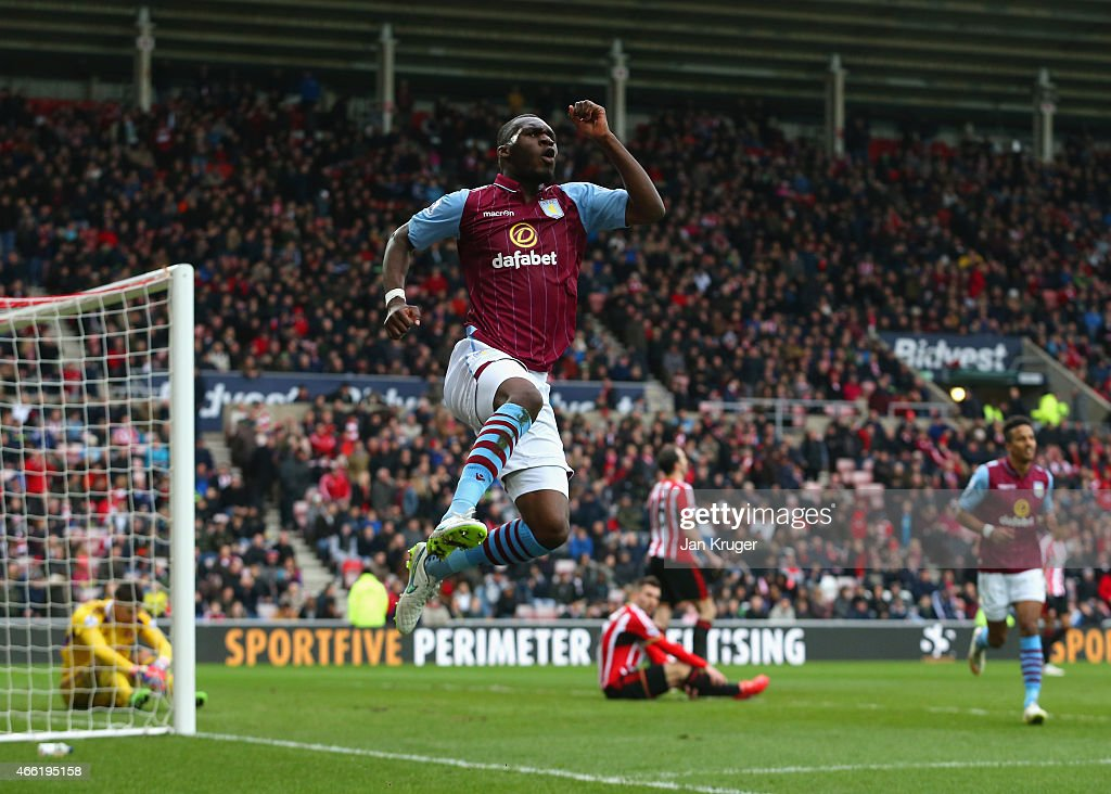 Christian Benteke of Aston Villa celebrates scoring their fourth goal during the Barclays Premier League match between Sunderland and Aston Villa at Stadium of Light on March 14, 2015 in Sunderland, England.