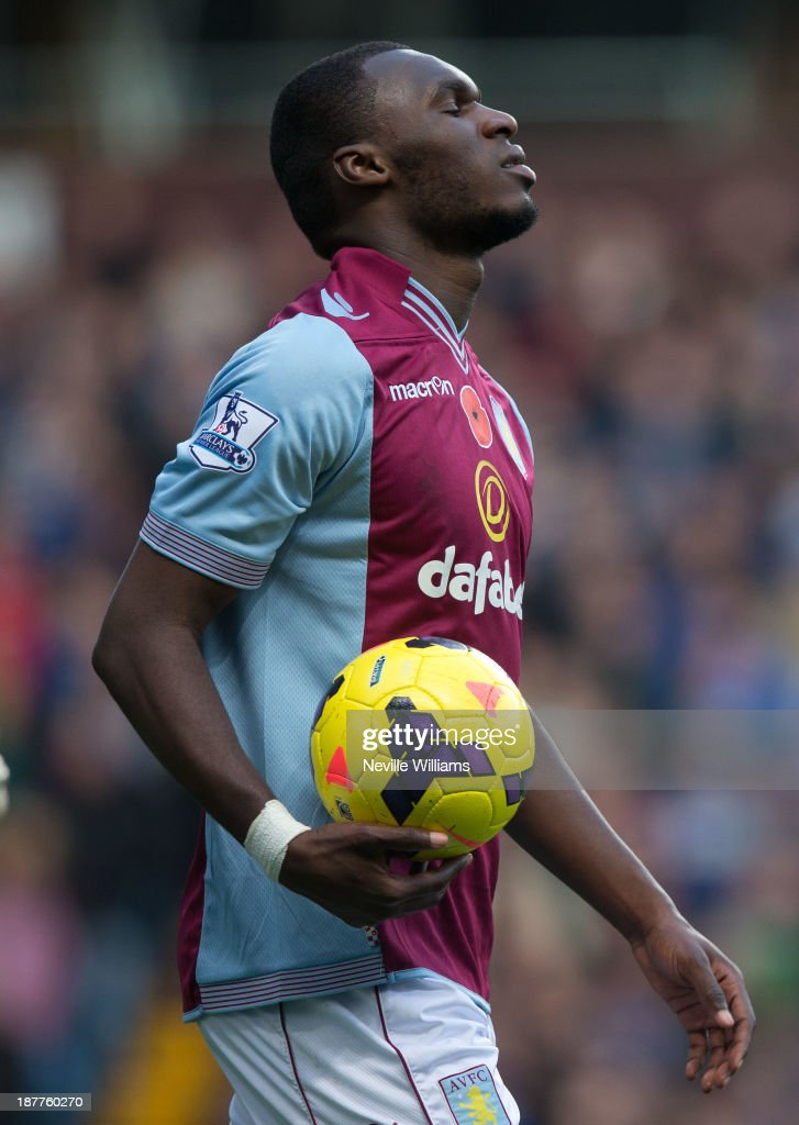 Christian Benteke of Aston Villa during the Barclays Premier League match between Aston Villa and Cardiff City at Villa Park on November 09, 2013 in Birmingham, England.
