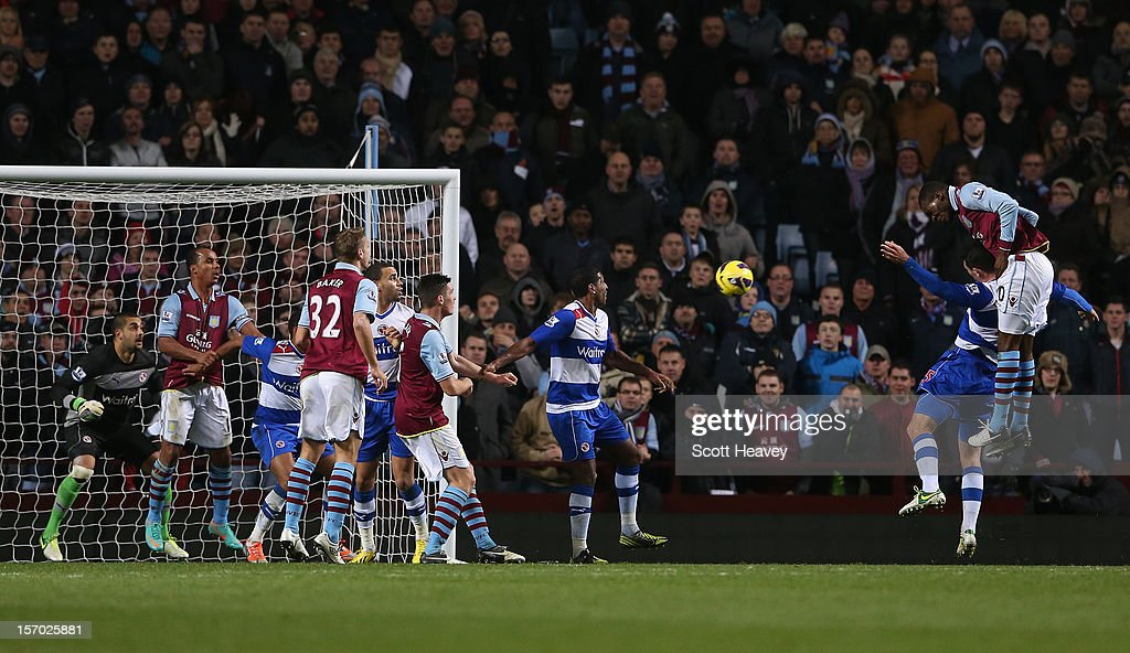 <a gi-track='captionPersonalityLinkClicked' href=/galleries/search?phrase=Christian+Benteke&family=editorial&specificpeople=4282509 ng-click='$event.stopPropagation()'>Christian Benteke</a> of Aston Villa rises to score the opening goal during the Barclays Premier league match between Aston Villa and Reading at Villa Park on November 27, 2012 in Birmingham, England.