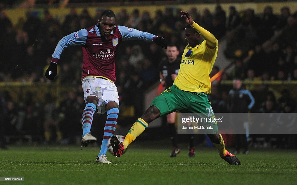 Christian Benteke of Aston Villa scores a goal during the Capital One Cup Quarter-Final match between Norwich City and Aston Villa at Carrow Road on December 11, 2012 in Norwich, England.