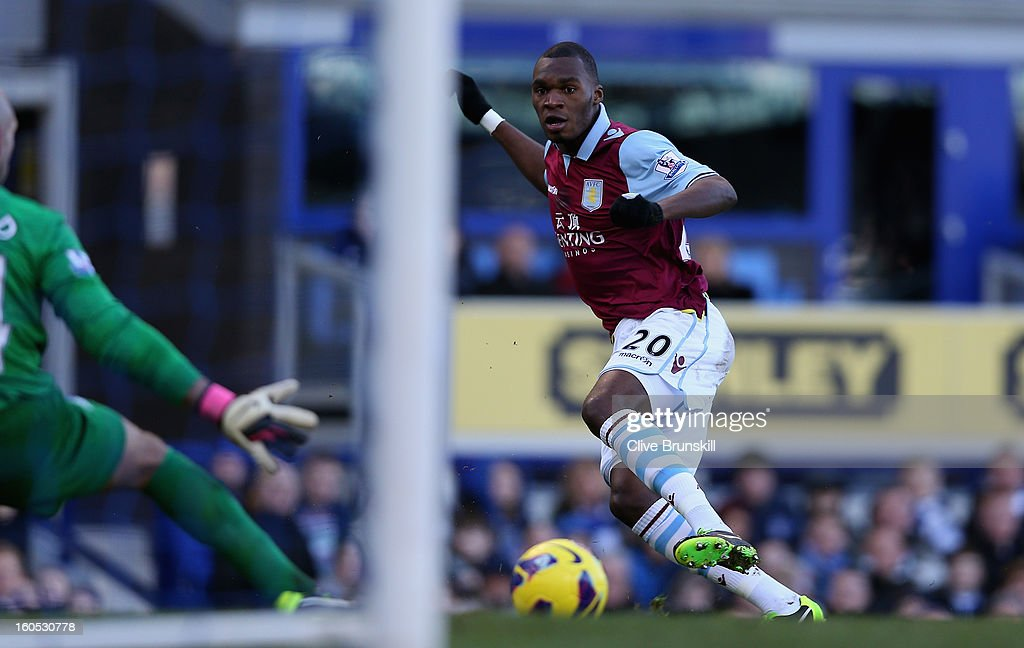 Christian Benteke of Aston Villa scores the first goal during the Barclays Premier League match between Everton and Aston Villa at Goodison Park on February 2, 2013 in Liverpool, England.