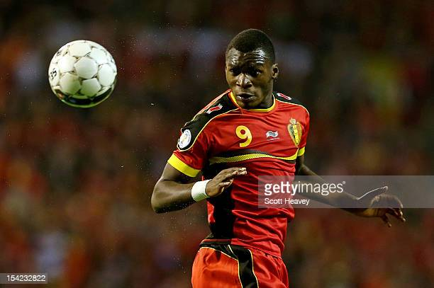 Christian Benteke of Belgium in action during the FIFA 2012 World Cup Qualifier match between Belgium and Scotland on October 16 2012 in Brussels...