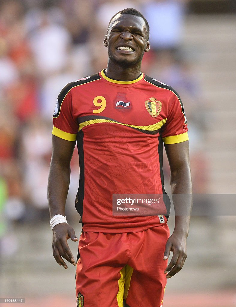 Christian Benteke of Belgium looks dejected after missing an opportunity during the FIFA 2014 World Cup Group A qualifying match between Belgium and Serbia at the King Baudouin stadium on June 07, 2013 in Brussels, Belgium.