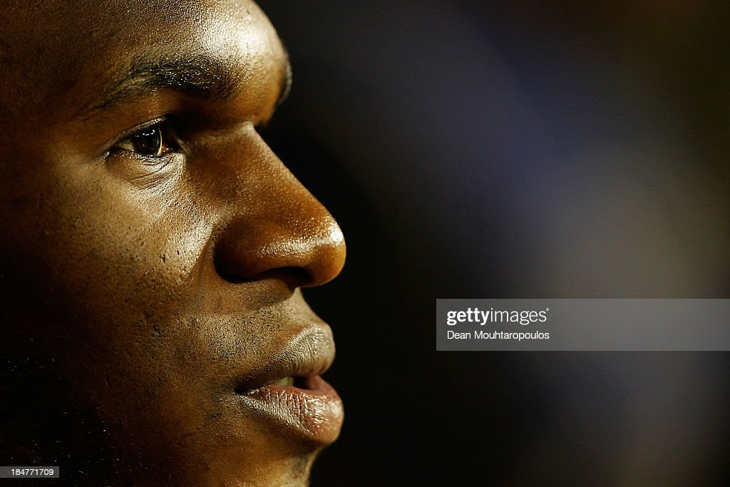 Christian Benteke of Belgium looks on prior to the FIFA 2014 World Cup Qualifying Group A match between Belgium and Wales at King Baudouin Stadium on October 15, 2013 in Brussels, Belgium.