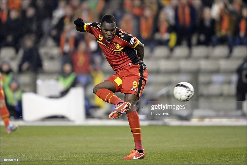 Christian Benteke of Belgium scores on offside goal during the FIFA 2014 World Cup Group A qualifying match between Belgium and Macedonia at the King Baudouin stadium on March 26, 2013 in Brussels, Belgium.
