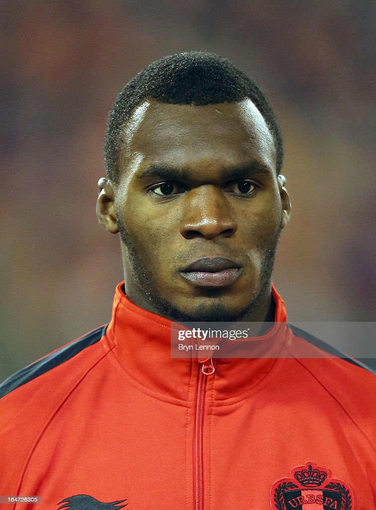 Christian Benteke of Belgium stands for the national anthems prior to the FIFA 2014 World Cup Qualifier between Belgium and Macedonia at Stade Roi Baudouis on March 26, 2013 in Brussels, Belgium.