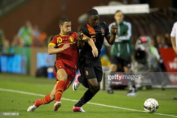 Christian Benteke of BelgiumJetro Willems of Holland during the friendly match between Belgium and Netherlands at Koning Boudewijn stadium on August...