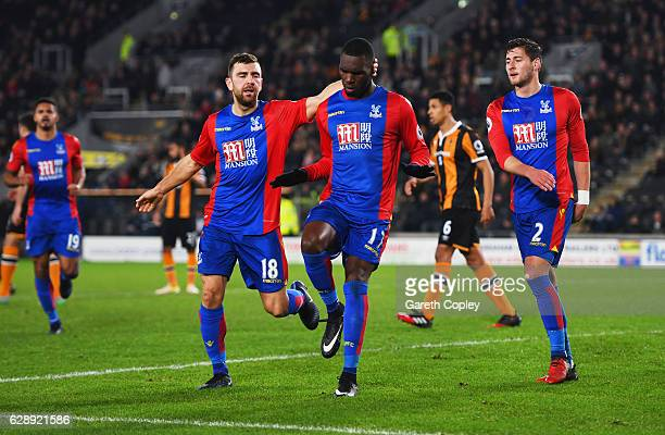 Christian Benteke of Crystal Palace 917 celebrates with team mate as he scores their first and equalising goal from a penalty during the Premier...