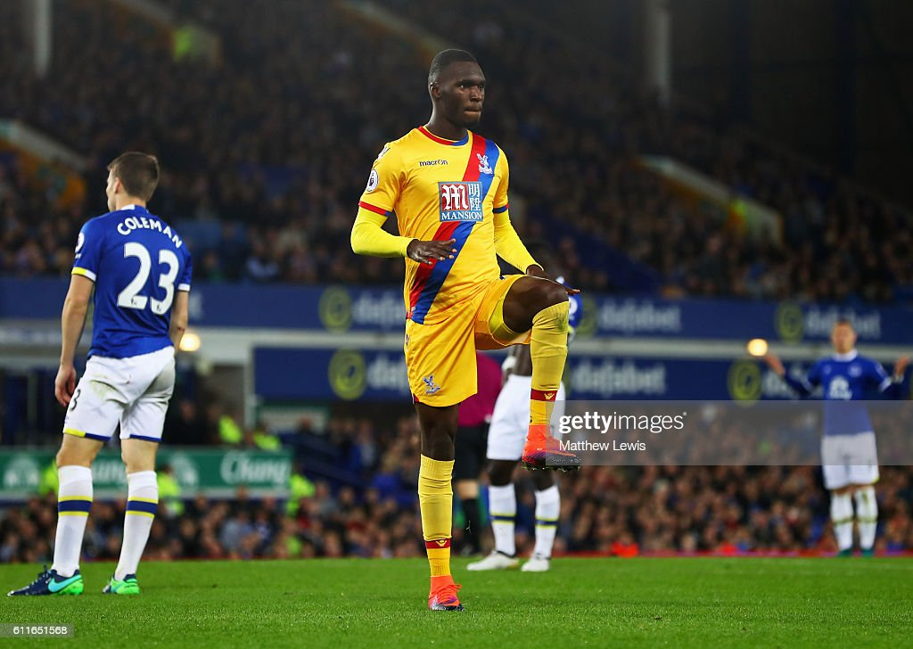 Christian Benteke of Crystal Palace celebrates as he scores their first goal during the Premier League match between Everton and Crystal Palace at Goodison Park on September 30, 2016 in Liverpool, England.