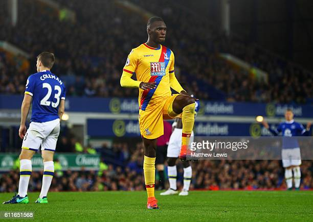 Christian Benteke of Crystal Palace celebrates as he scores their first goal during the Premier League match between Everton and Crystal Palace at...