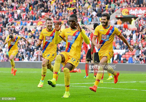 Christian Benteke of Crystal Palace celebrates scoring his sides third goal during the Premier League match between Sunderland and Crystal Palace at...