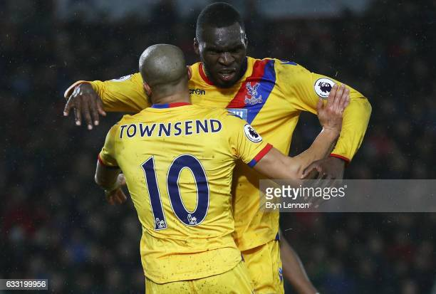Christian Benteke of Crystal Palace celebrates scoring his side's second goal with his team mate Andros Townsend during the Premier League match...