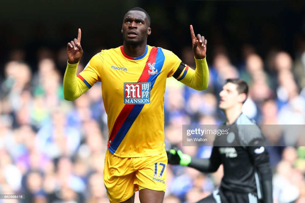 Christian Benteke of Crystal Palace celebrates scoring his sides second goal during the Premier League match between Chelsea and Crystal Palace at Stamford Bridge on April 1, 2017 in London, England.