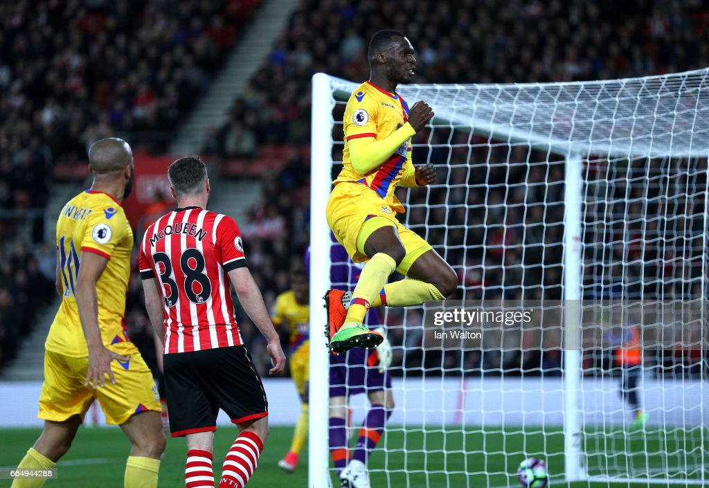 Christian Benteke of Crystal Palace celebrates scoring his sides first goal during the Premier League match between Southampton and Crystal Palace at St Mary's Stadium on April 5, 2017 in Southampton, England.