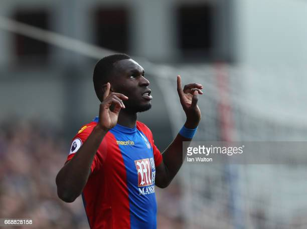 Christian Benteke of Crystal Palace celebrates scoring his sides second goal during the Premier League match between Crystal Palace and Leicester...