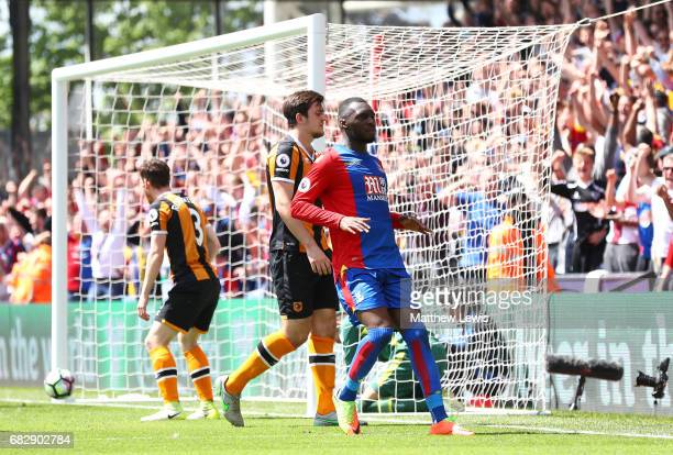 Christian Benteke of Crystal Palace celebrates scoring his sides second goal during the Premier League match between Crystal Palace and Hull City at...